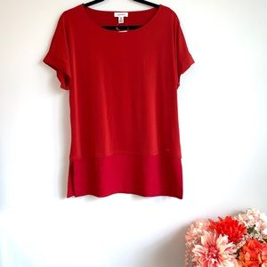 🆕NWT CALVIN KLEIN Short Sleeve Top in Rust Size M